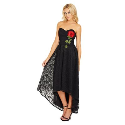Black 'Raney' bandeau high low lace dress