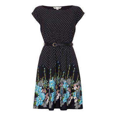 Black Floral Spot Belt Dress