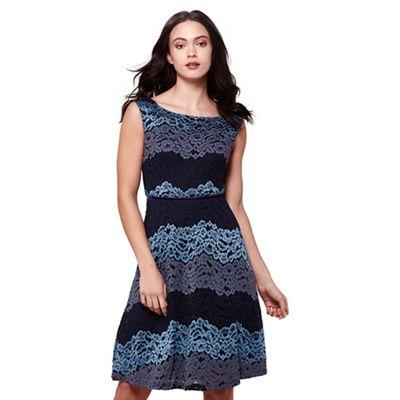Blue three tone stripe lace dress