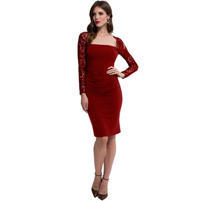 Red Lace Sleeved Jersey Dress in Clever Fabric