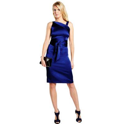 Royal blue kneelength silk dress