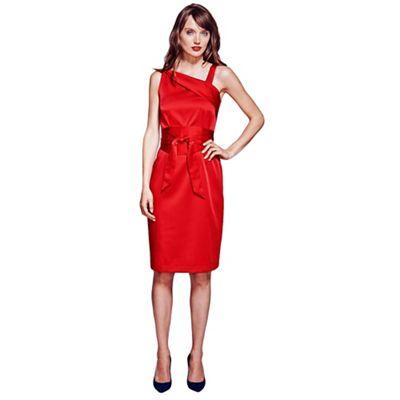 Red Kneelength Silk Dress