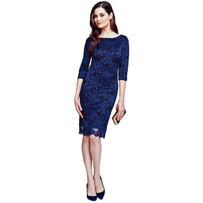 Navy long sleeved lace dress with ThinHeat