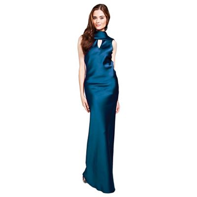 Teal long dress with cowl back