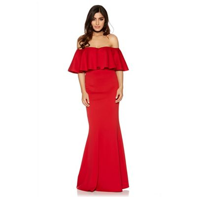 Red bardot frill fishtail maxi dress