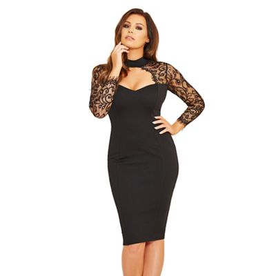 Black 'Clancy' lace sweetheart bodycon dress