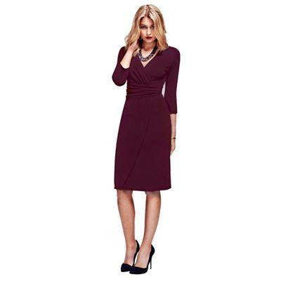 Burgundy V Neck Mock Wrap Thermal Dress