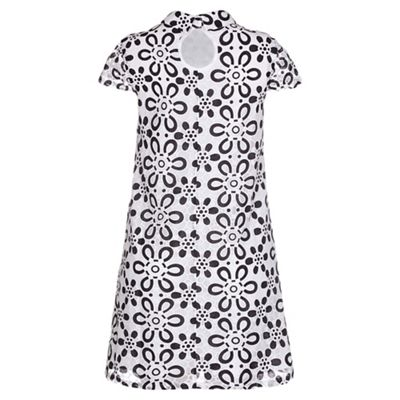 Black paper lace shirt swing dress