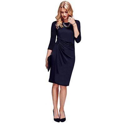 Black boatneck thermal dress with side-ruching