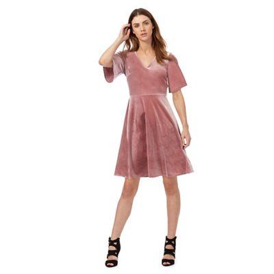 Pink velvet skater dress