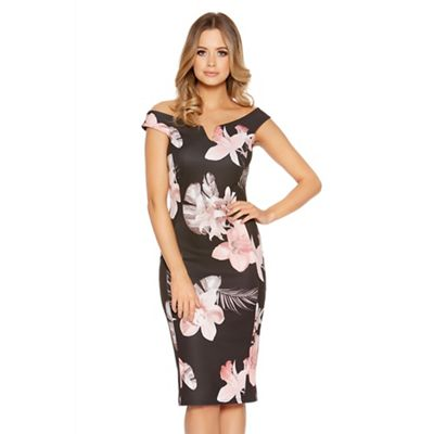Black flower print bardot bodycon dress