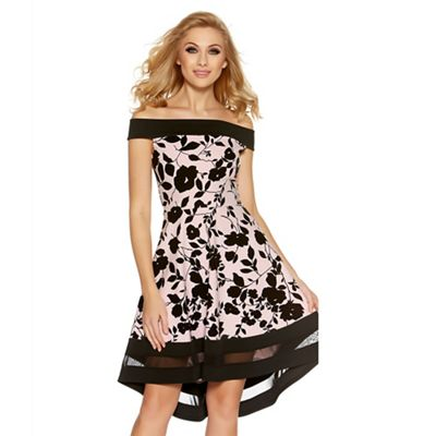 Pink and black floral print bardot dress