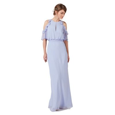 Pale blue ruffle keyhole maxi dress