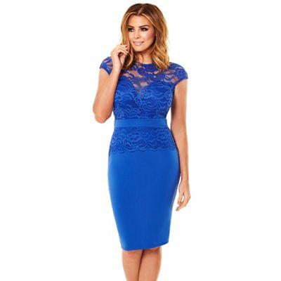 Cobalt blue 'Bliss' lace detail bodycon dress