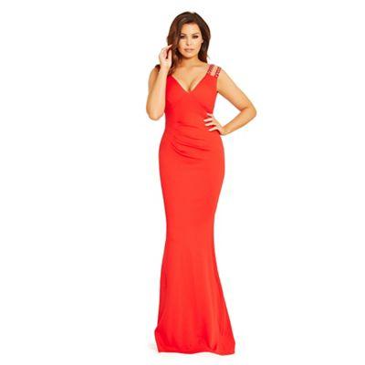 Red 'Dannie' jewel strapped pleated maxi dress