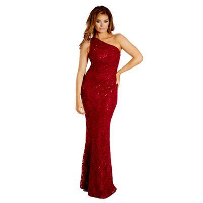 Berry 'Alison' sequin lace one shoulder maxi dress