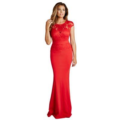 Red 'Blair' lace detail maxi dress