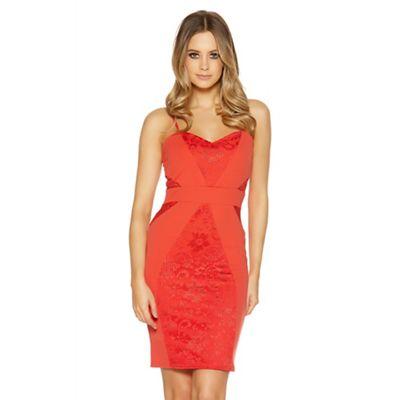 Orange lace panel midi dress