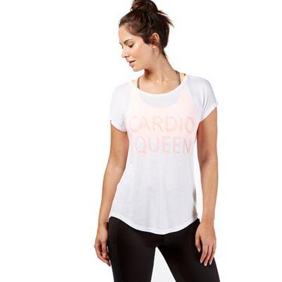 White 'Cardio Queen' print t-shirt