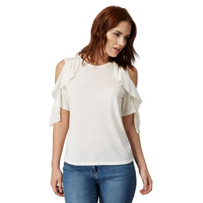 0aa2d0246caa8b Ivory cold shoulder waterfall sleeve detail top