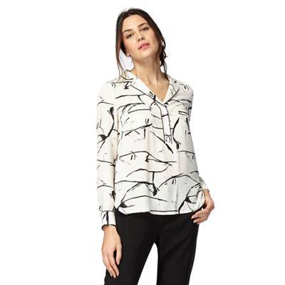 Black and ivory scribble print petite shirt