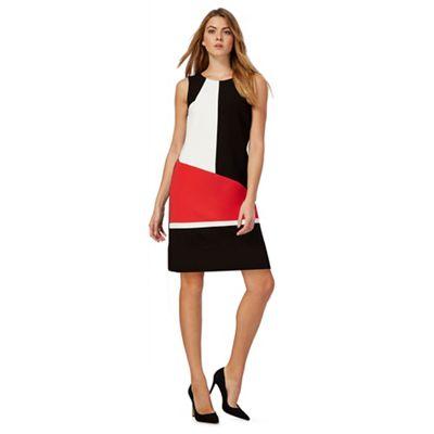 Black colour block sleeveless midi petite dress