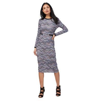 Blue textured marl tube petite midi dress