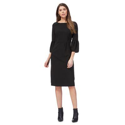 Black flute sleeve petite suit dress