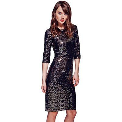 Gold knee length sequin dress
