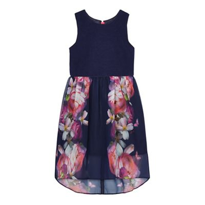 07c83208f9c401 Baker by Ted Baker Girls  navy floral print dress