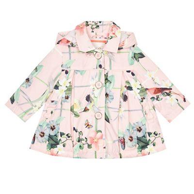 97645832d7c0 Baby girls  pink floral print shower resistant mac jacket