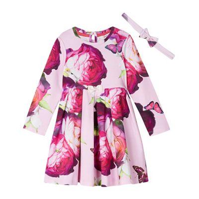 72a007dd9517d Baby girls  pink floral print dress with a headband