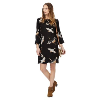 Black crane embroidery tunic dress