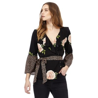 Black contrasting print blouse