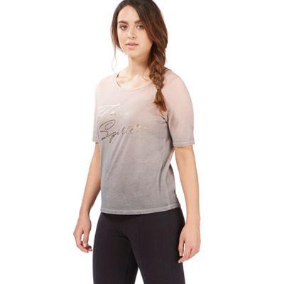 Light pink ombre effect foil print t-shirt
