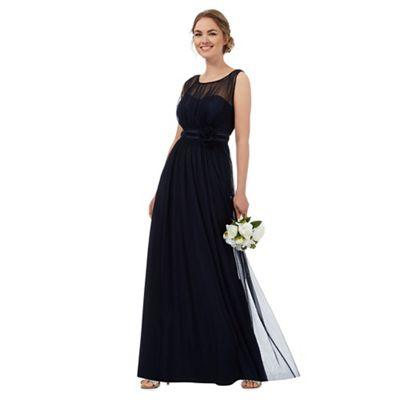 Dark blue mesh corsage maxi dress
