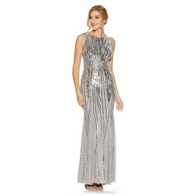 Grey sequin high neck fishtail maxi dress