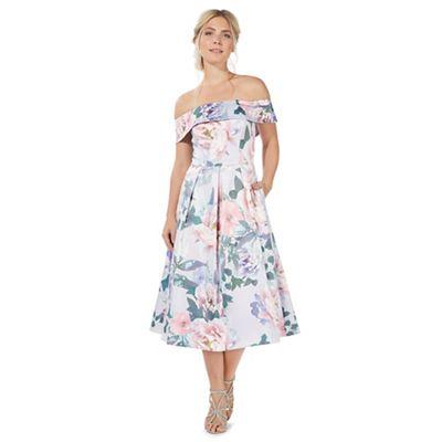 Lilac floral print prom dress