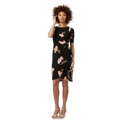 Black floral print petite wrap dress