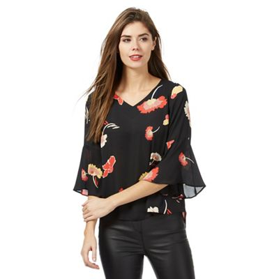 Black floral print tie back petite top