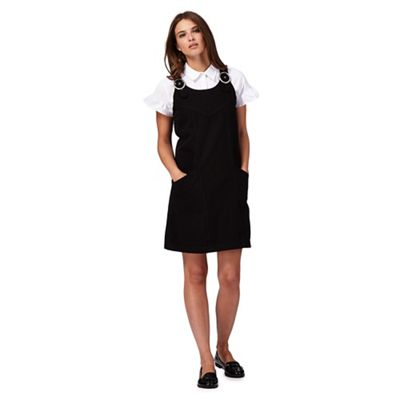 Black denim petite pinafore