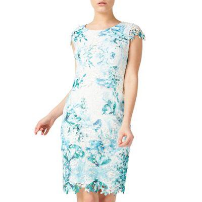 Petite printed lace dress