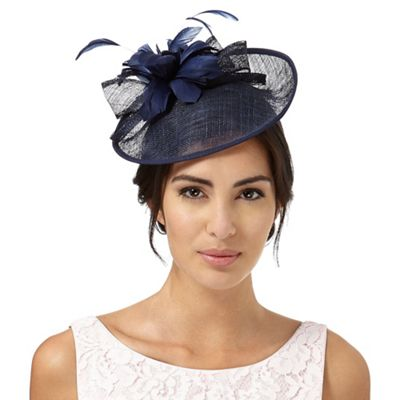 Navy feather flower saucer fascinator b0b0970fb58