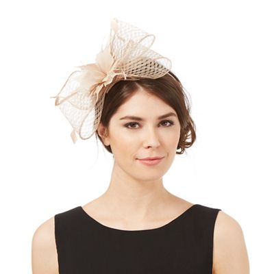 Beige windowpane bow fascinator f7fb3011649