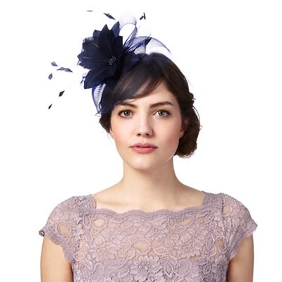 c6c78b30e8455 Navy feather flower fascinator