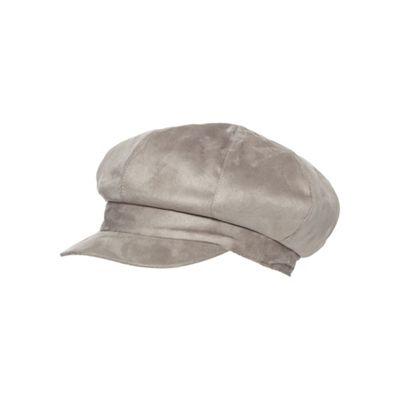 72dcfe85bab83e Grey faux fur lined baker boy cap