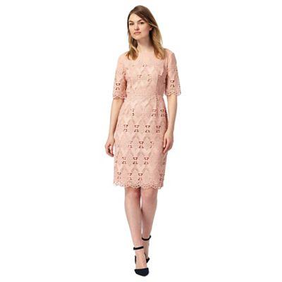 Pale peach mesh lace shift dress