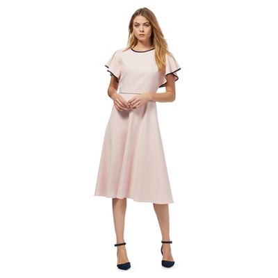 Pink tipped fluted sleeve dress