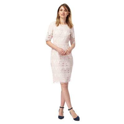 Light pink mesh lace shift dress