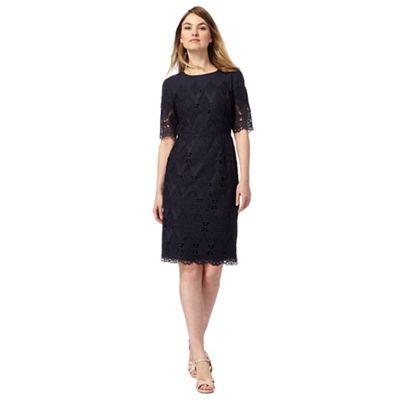 Navy mesh lace shift dress
